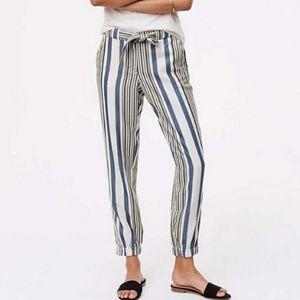 Loft NWOT 10 Striped Tie Waist Jogger Dress Pants